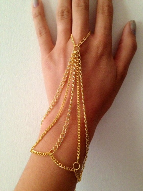 Items similar to Gold hand chain- chain jewelry, body ...