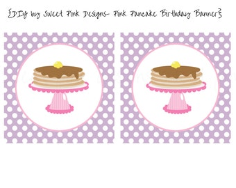 Pink Pancake Birthday Banner