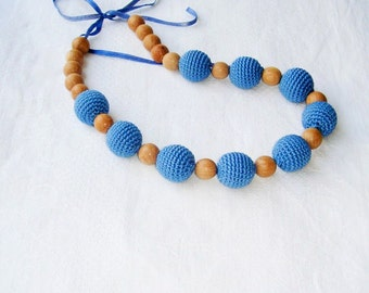 SALE Nursing necklace,Breastfeeding necklace,Blue navy Necklace,Ecofriendly,Babywearing,Baby Carrier, wrap,Wooden toy,Developing toy