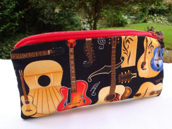 Guitar Zipper Pouch - pens - cosmetic - phone - eye glasses - OOAK - handmade - gift - stocking filler - black - yellow - orange .
