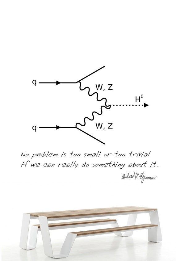 Science art physics - QED Feynman diagram and quote vinyl wall decal - science wall sticker for classroom scientific decor (ID: 121032)