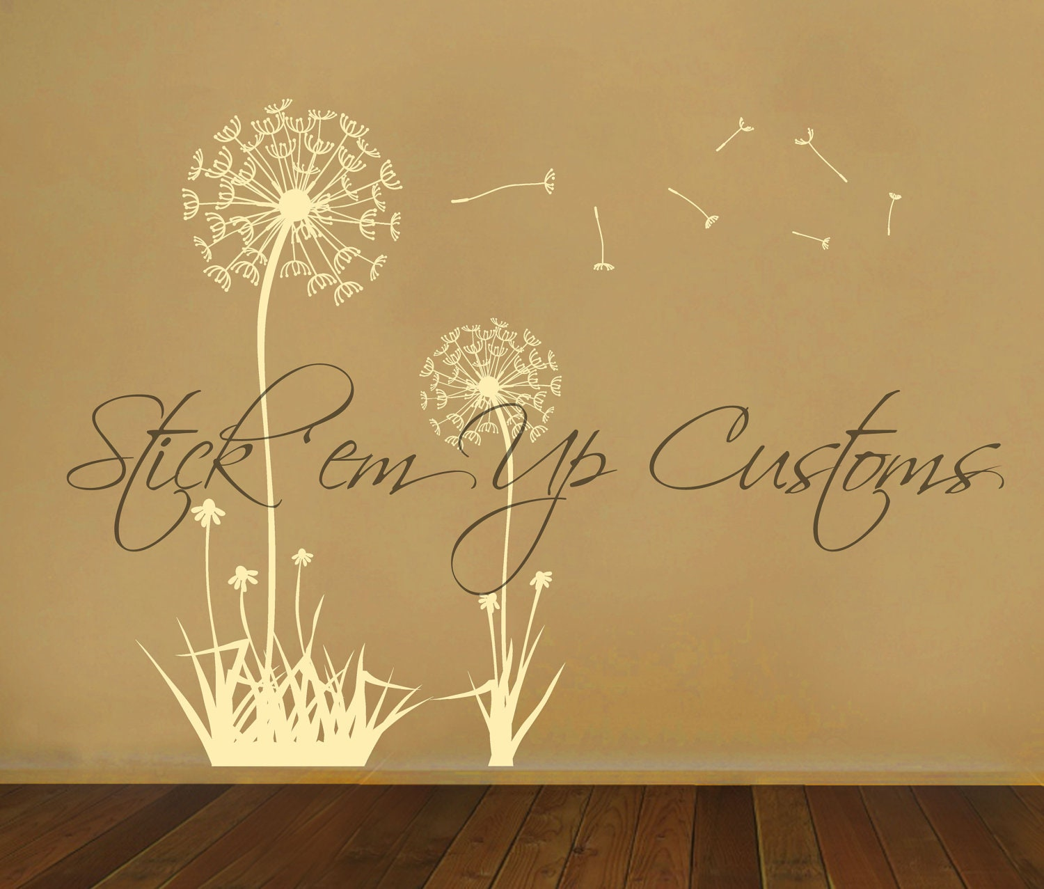 Dandelion wall decal floating dandelions wall art sticker zoom amipublicfo Images