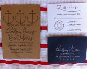Nautical Wedding Invitations Calligraphy & Kraft Paper Navy