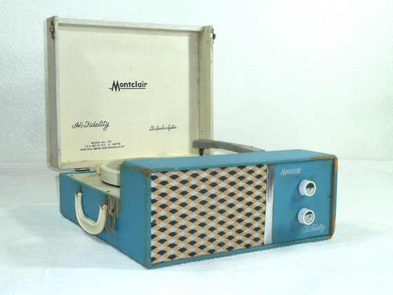 Vintage Blue Montclair Record Player/ Phonograph