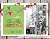 Bunting Christmas Card - Holiday Card - Photo Christmas Card - Have a Holly Jolly Christmas - Birthday Party Invite - Bunting Flags