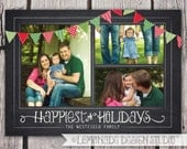 Chalkboard Christmas Card - Bunting Photo Christmas Card - Holiday Card - Merry and Bright - 1 or 3 Photos - Printable
