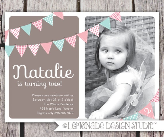 First Birthday Invitation Bunting Flags Banner Photo Printable Invite - Pink and Brown - 1 Year Old or 2 Year Old - Second Birthday