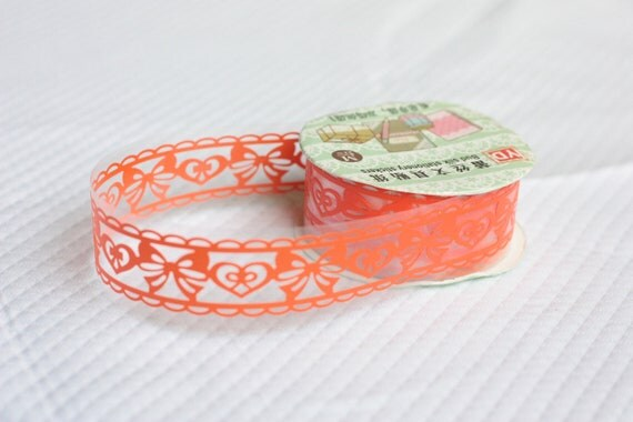 Whimsy Orange Hearts and Bows Lace Sticker Tape Scrapbooking Washi Tape Japanese