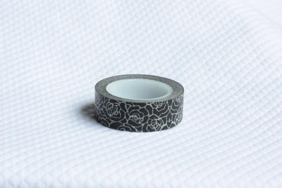 Whimsy Washi Black and White RosesTape Scrapbooking Deco Tape Japanese