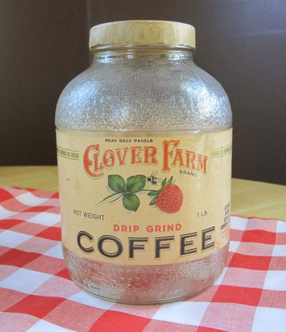 A Near Mint Condition Jar of a Rare Coffee Brand - Clover Farm Brand from Cleveland Ohio - paper lid