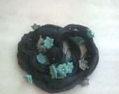 Silk Wrap Scarf, Gray Jewelry Scarf, Boho Silk Necklace, Oya Beaded Crochet Scarf, Blue Flowers Scarf, Skinny Silk Foulard, Christmas
