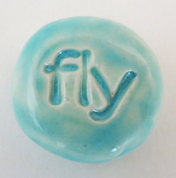 FLY Pocket Stone - Ceramic - Light Turquoise Art Glaze - Inspirational Art Piece