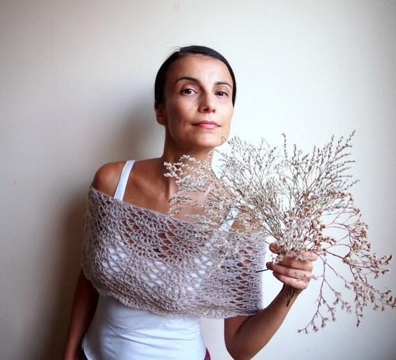 Bolero Scarf Shawl Neckwarmer Crochet Pattern : Crochet pattern lacy capelet shrug shawl bride wedding ...