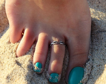Sterling Silver Chain style Toe Ring Adjustable toe ring memory tea ring Also knuckle ring (T-23)