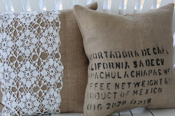 "floor cushion pillow coffee bag burlap 23""x23"""