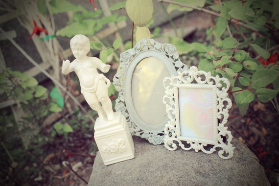TWO small white victorian ornate frames angel statue shabby chic
