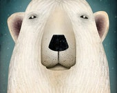 Polar Bear graphic art canvas on wood panel Windows Of Wild Collection by Fowler Creative Arts