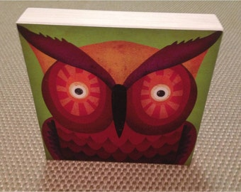 Wide-Eyed Owl graphic art canvas on wood panel  8 x 8 x 1.5  Windows Of Wild Collection by Fowler Creative Arts