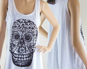Mexican Skull Mask Skull Design Skull Tank Top Women Tanks Skull Shirt White T-Shirt Screen Print Size M