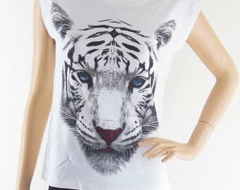 Tiger Blue Eyes Animal Style Art Fashion Tiger shirt Teenager girl gifts Women T-shirt Animal Tunic Tank White T-Shirt Screen Print Size S