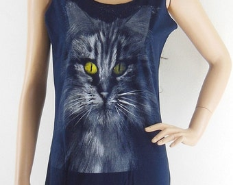 Cat Yellow Eyes shirt animal style women graphic shirt cool shirt quote t shirt maxi dress dark blue shirt tumblr top Screen Print Size S