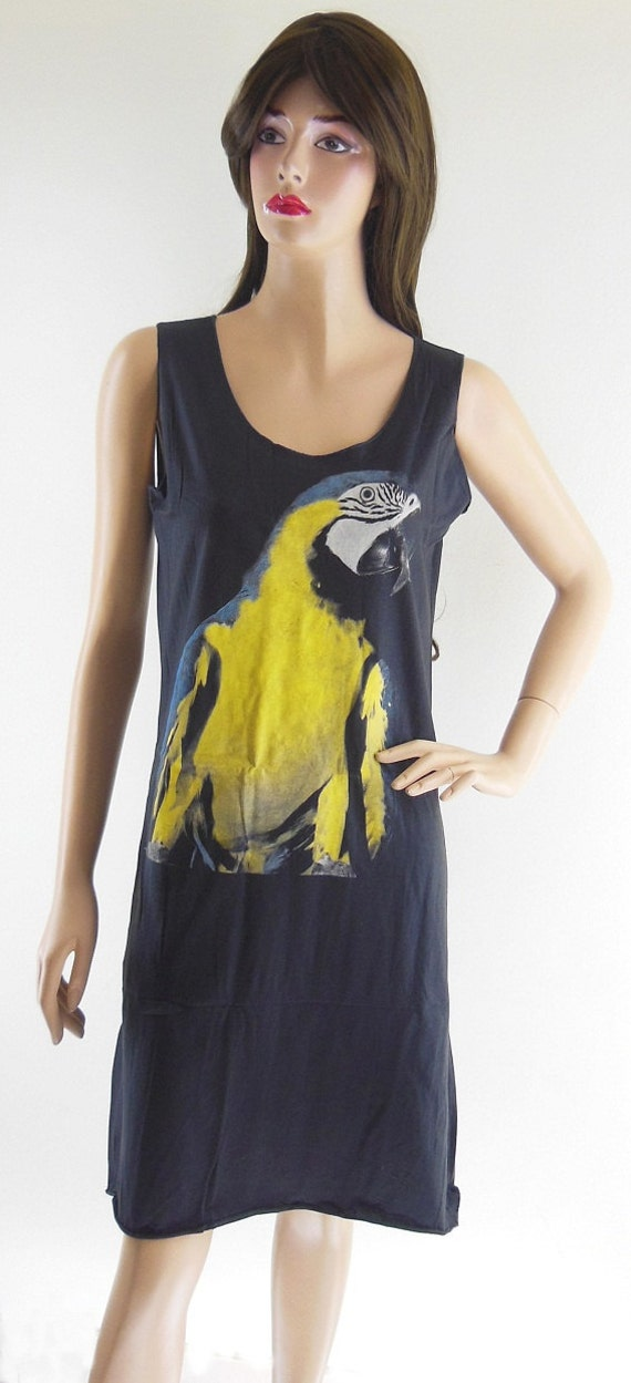 Yellow Parrot Animal Style Mixi Dress Long Dress Women Black Dress Parrot T-Shirt Screen Print Size S