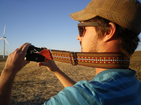 Chevron Ethnic Brown Camera Strap with red leather