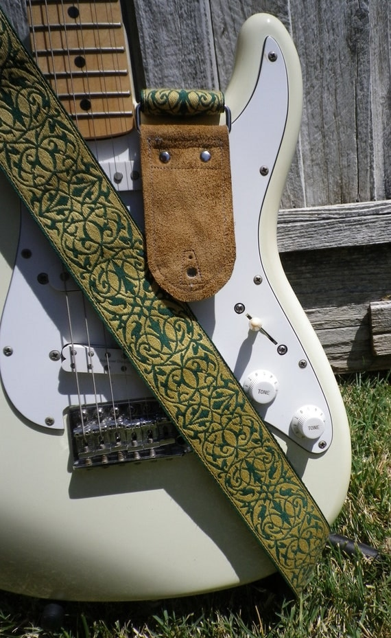 Yellow & Green Celtic Vines Guitar Strap with tan suede ends