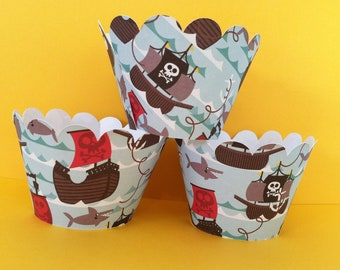 Pirate Cupcake Wrappers set of 12 Ready to Ship