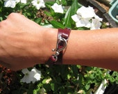 Deep burgandy/brown faux leather wrap bracelet