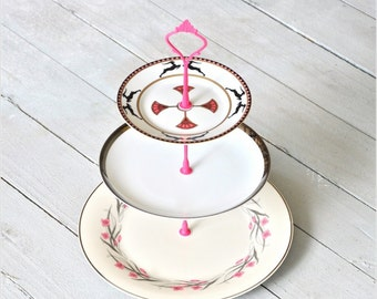 Cake Stand, Persephone: 3 Tier, Pink White Black, 3 Tier Cupcake Stand, Wedding Dessert Table
