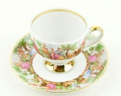 Vintage - Lovely little teacup and saucer - Bavaria Mitterteich -  Germany - Romantic scenes
