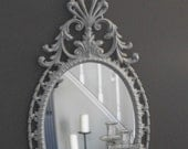 Mirror and Shelf Set: Metallic Silver Glaze Finish
