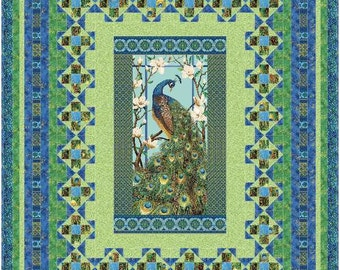 INSTANT DOWNLOAD. PDF version Northcott's Peacock Paradise Persian Mosaic. panel pattern Queen, twin, lap all included