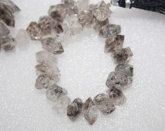 Natural AAA Quality Diamond Quartz 10 to14mm Central Drill Faceted Nuggets Gemstone Beads 8 Inches SA001