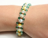 Yellow and green glass beads bracelet
