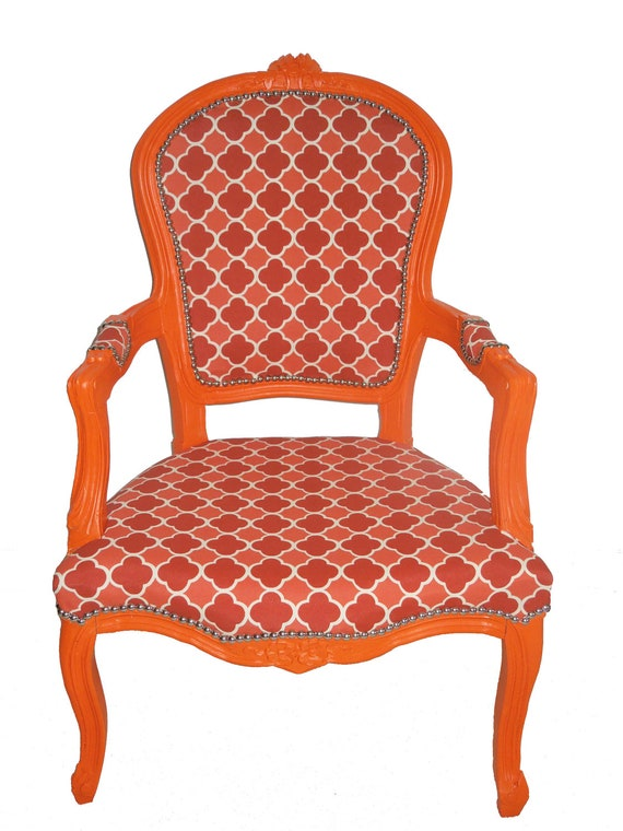 Reserved for Mitchellbride Refurbished Vintage Wooden Orange Arm Chair