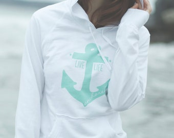 Live Life Anchored Raw Edge Hoodie White and Mint
