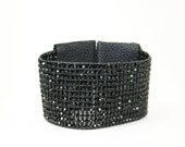 Black Diamond Wide Cuff Beaded Leather Bracelet - Chan Luu Inspired