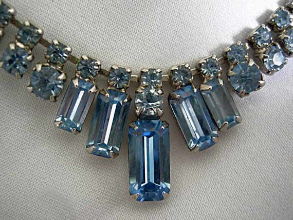 Sky Blue Prong Set Graduated Baguette Rhinestones in Silver Tone Setting Necklace - Unsigned - Vintage