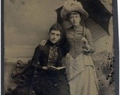 Vintage TinType, 2 Young Ladies unbrella hats book -great for Collector, Mixed Media Artist, etc...Yb1747