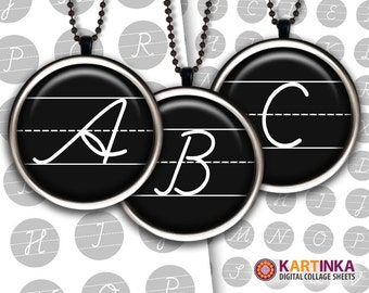 1.5 inch, 7/8 inch, 1 inch (25mm) Round Images Black & White ALPHABET for Printable Download Pendants Bezel trays Glass cabochon Bottle caps