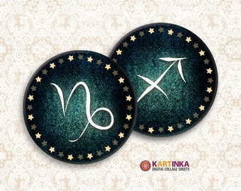 ZODIAC SIGNS 2 inch, 2.25 inch Circles Digital Collage Sheet Printable images Pocket Mirrors Magnets Paper Weight Earrings