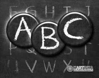 BLACK CHALKBOARD Alphabet ABC - 1 inch and 1.5 inch Printable digital download images for Round pendants Bezel trays Glass cabochons Crafts