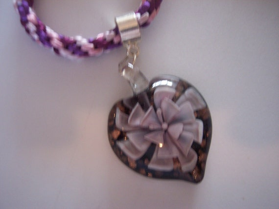 Kumihimo necklace with heart shaped glass pendant, purples and pinks