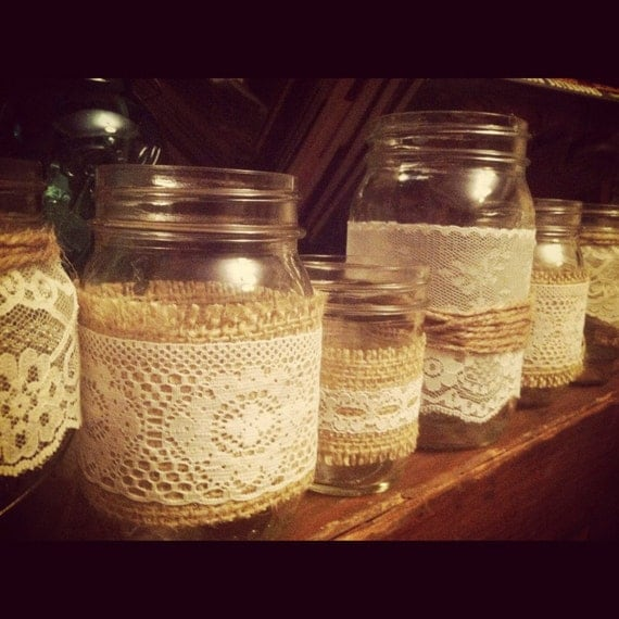 Burlap and Lace Mason Jar Candle holder - rustic wedding centerpeice (Set of 5) - mix and match