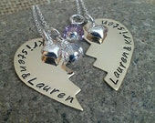 Best Friends Personalized Broken Heart Necklace with Puffy Heart Charms and Swarovski Pearls