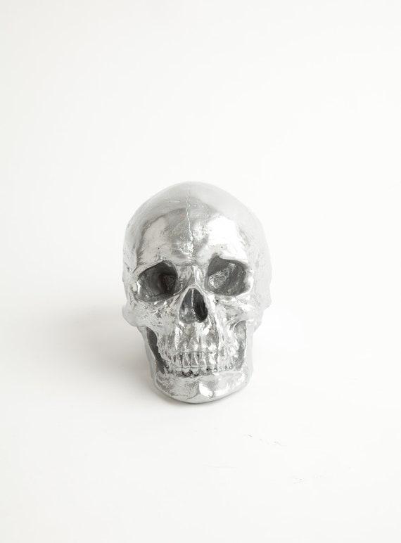 The Nedwhin - Chrome Faux Human Head -  Resin Skeleton - Sugar Skull Like