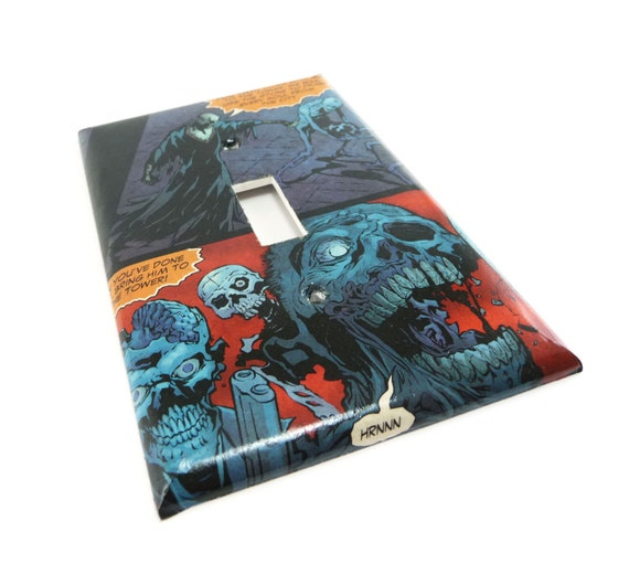 Zombies light switch cover, comic book switch plate
