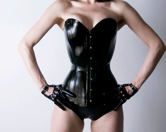 Latex Rubber Corset Overbust Plunge steel boned By VEX - Convex Corset